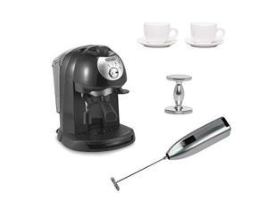 DeLonghi BAR32 Retro 15 BAR Pump Espresso and Cappuccino Maker with Espresso Tamper, Two 3 oz Ceramic Tiara Espresso Cups and Saucers, and Knox Handheld Milk Frother
