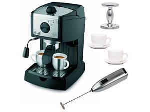 DeLonghi EC155 15 BAR Pump Espresso and Cappuccino Maker with Espresso Tamper, Two 3 oz Ceramic Tiara Espresso Cups and Saucers, and Knox Handheld Milk Frother