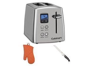 Cuisinart CPT-415 Countdown 2-Slice Stainless Steel Toaster with Stainless Steel Bread Knife and Oven Mitt