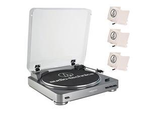 Audio Technica AT-LP60 Fully Automatic Belt Driven Stereo Turntable System (Aluminium) with (3) Replacement Stylus