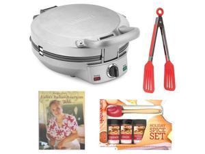 Cuisinart International Chef Crepe, Pizzelle & Pancake Plus Bundle with Mini-Spatula Spice Set + 8-inch Tongs + Cookbook