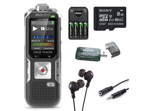 Philips DVT6000 Voice Tracer Digital Recorder with 3-Mic Auto Zoom Plus Black Voice Recorder with 8GB Deluxe Accessory Bundle