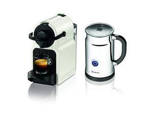 Nespresso Inissia Espresso Maker with Aeroccino Plus Milk Frother (White)