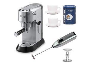 DeLonghi EC680 Dedica 15-Bar Pump Espresso Machine with Espresso Tamper, Lavazza In Blue Ground Espresso Coffee 8.8 oz Can, Two 3 oz Ceramic Tiara Espresso Cups and Saucers, and Handheld Milk Frother