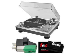 Audio-Technica AT-LP120-USB Direct-Drive Professional Turntable w/ USB Port with .4 X .7 Half-Inch Mount Phono Cartridge and Micro-fiber Cleaning Cloth