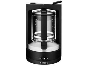 KRUPS KM468950 Moka Brewer Filter Coffee Maker, 10-Cup, Black