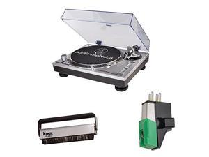 Audio Technica AT-LP120-USB Direct-Drive Professional Turntable w/ Mount Phono Cartridge & Brush Cleaner