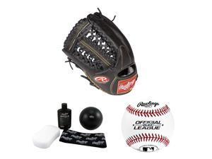 Rawlings RGG1175 11.75-Inch Baseball Mitt (Right Hand Throw) w/ Glove Break-In Kit & Baseball