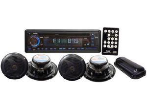 PYLE AUDIO PYLPLCD4MRKTB Marine Single-DIN In-Dash 4-Speaker CD/USB/MP3/Combo Receiver with Stereo Cover