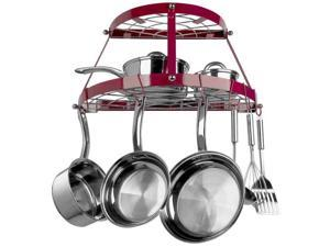 Range Kleen RKNCW6003RR Range Kleen 2 Shelf Wall Mount Pot Rack, Red