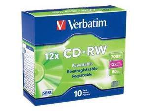 Verbatim VTM95156M Verbatim 12X CD-RW Media 700MB 10 Pack in Jewel Case (95156)