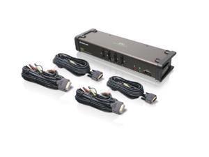 iogear GCS1104B IOGEAR 4-Port DVI KVMP Switch with Audio and 4-USB 2.0, DVI-D KVM Cables GCS1104 (Black)