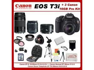 Canon EOS Rebel T3i Digital 18 MP CMOS SLR Camera Body (600D)W/ 5 Extra Lens+3 Piece Filter Kit+1 Battery and charger +16gb ...