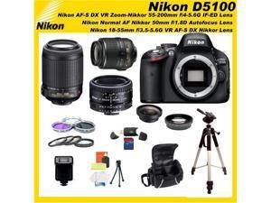 Nikon D5100 16.2MP CMOS Digital SLR Camera with 3-inch Vari-Angle LCD Monitor 5 Lens Sports Package & Accessories