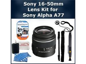 Sony 16-50mm Lens Kit for Sony Alpha SLT-A77 DSLR Camera. Package Includes: Sony 16-50mm f/2.8 Standard Zoom Lens, Lens Cap ...