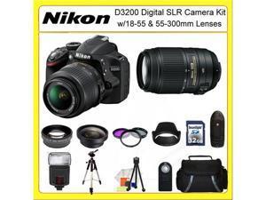 Nikon D3200 Digital SLR Camera Kit with 18-55 & 55-300mm Lenses + 0.45X Wide Angle Lens, 2X Telephoto Lens, 3 Piece Filter ...
