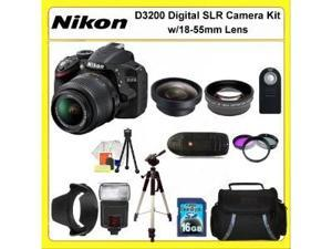 Nikon D3200 Digital SLR Camera Kit with 18-55mm Lens. Also Includes: 0.45X Wide Angle Lens, 2X Telephoto Lens, 3 Piece Filter ...