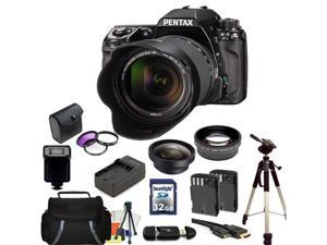 Pentax K-5 II Digital SLR Camera Kit with SMC DA 18-55mm f/3.5-5.6 AL Lens. Includes: 0.45x Wide Angle Lens, 2X Telephoto Lens, 3 Piece Filter Kit(UV-CPL-FLD), 32GB Memory Card, & More