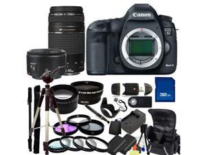 Canon EOS 5D Mark III Digital SLR with 75-300mm f/4.0-5.6 III USM & 50mm f/1.8 II Lenses + Wide Angle & Telephoto, 3 Piece Filter Kit (UV-CPl-FLD), 4 Piece Macro Filter Set (+1,+2,+4,+10) & More!