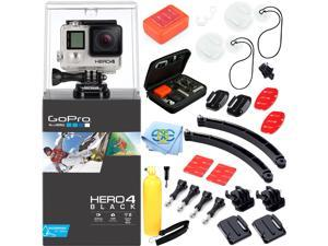 GoPro HERO4 BLACK + Surf Accessory Kit. Inlcudes Surfboard Mount Kit + 2 Arm Extention Kits + Floaty Sponge & 3M Adhesive + Bobber Handle with Thumb Screw + Pre