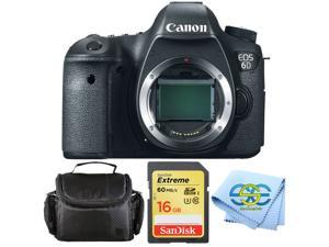 Canon EOS 6D Body w 16GB SanDisk Extreme 60 MBPS SD card, Deluxe Carrying Case and Cleaning Cloth