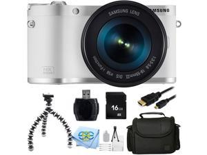 "Samsung NX300M 20.3MP CMOS Smart WiFi & NFC Compact Interchangeable Lens Digital Camera with 18-55mm Lens and 3.3"" AMOLED Touch Screen (White) + 16GB Bundle 9PC Accessory Kit"
