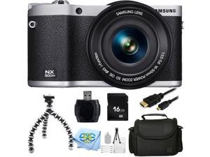 "Samsung NX300M 20.3MP CMOS Smart WiFi & NFC Compact Interchangeable Lens Digital Camera with 18-55mm Lens and 3.3"" AMOLED Touch Screen (BLACK/SILVER) + 16GB Bundle 9PC Accessory Kit."