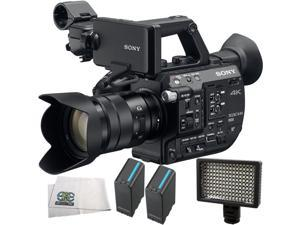Sony PXW-FS5 XDCAM Super 35 Camera System with Zoom Lens 4PC Accessory Kit. Includes 2 Replacement BPU90 Batteries + 160 LED Video Light + Microfiber Cleaning Cloth