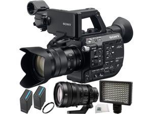 Sony PXW-FS5 XDCAM Super 35 Camera System with Zoom Lens & Sony FE PZ 28-135mm f/4 G OSS Lens 5PC Accessory Kit. Includes 2 Replacement BPU90 Batteries + 160 LED Video Light + UV Filter + MORE