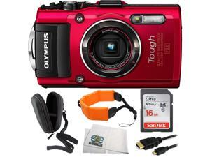 Olympus Stylus TOUGH TG-4 Digital Camera (Red) Bundle Includes SanDisk 16GB Ultra UHS-I SDHC Class 10 Memory Card (SDSDUN-016G-G46) + Floating Strap + Micro HDMI Cable + Point & Shoot Case + Microfibe
