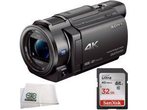 Sony FDR-AX33 4K Ultra HD Handycam Camcorder + Sandisk Ultra 32GB SDHC Class 10 Memory Card + Microfiber Cleaning Cloth