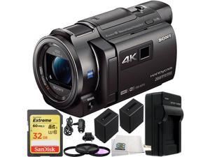 Sony 64GB FDR-AXP35 4K Camcorder with Built-In Projector (PAL) 32GB Bundle 10PC Accessory Kit. Includes SanDisk Extreme 32GB SDHC Memory Card (SDSDXN-032G-G46) + 2 Replacement FV-70 Batteries + MORE
