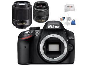 Nikon D3200 DSLR + Nikon AF-S DX 18-55mm G ED II + Nikon AF-S DX 55-200mm G ED  - International Version (No Warranty)