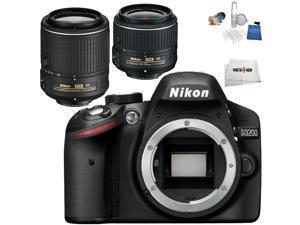 Nikon D3200 DSLR + AF-S DX NIKKOR 18-55mm G VR II + AF-S DX NIKKOR 55-200mm G ED VR II - International Version (No Warranty)