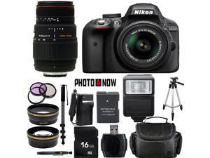 Nikon D3300 1532 Black Digital SLR Camera with 18-55mm VR Lens & Sigma 70-300mm Lens Essential 16GB Bundle