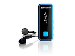 Transcend 8GB MP350 Portable Digital MP3 Music Player, Handy Fitness Tracker,  Microphone and FM Radio. Black Blue Model TS8GMP350B