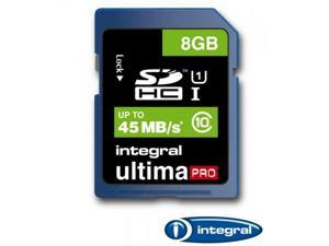 Integral 8GB Ultima Pro SDHC UHS-1 Memory Card Class 10 High Speed 45MB\Sec Model INSDH8G10-45