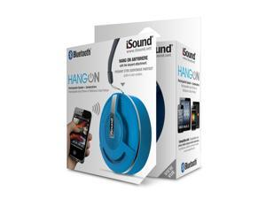 ISOUND Hang On Bluetooth Rechargeable Speaker + Speakerphone for Phones, Tablets, Laptops, & other Audio Devices - Blue. Model ISOUND-5301