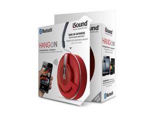 ISOUND Hang On Bluetooth Rechargeable Speaker + Speakerphone for Phones, Tablets, Laptops, & other Audio Devices - Red. Model ISOUND-5344