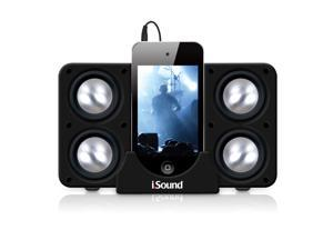 ISOUND Quad X Portable Speaker System for iPod, iPhone, iPad, Smartphone, or Audio Device with a 3.5mm Audio Jack - Black. Model ISOUND-5218