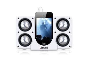 ISOUND Quad X Portable Speaker System for iPod, iPhone, iPad, Smartphone, or Audio Device with a 3.5mm Audio Jack - White. Model ISOUND-5219