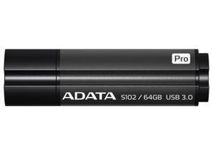 ADATA 64GB S102 Pro USB 3.0 Titanium Elite Flash Drive Gray Model AS102P-64G-RGY
