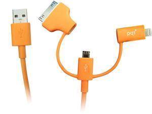 PQI i-Cable Multi-Plug for mobile devices - Lightning / Apple 30-pin / Micro USB connectors Color Orange Model 6PCN-008R0007A