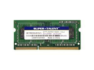 Super Talent 4GB DDR3L PC3-12800U 1600MHz Value Notebook Memory Model W160SA4GVL