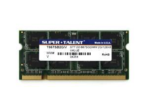 Super Talent 2GB DDR2 PC-5400 667MHz Value Notebook Memory Model T667SB2G/V