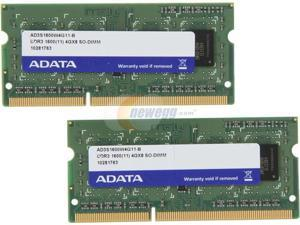 ADATA 8GB (2 x 4GB) DDR3 PC3-12800 1600MHz 204-Pin Laptop Memory Model AD3S1600W4G11-2