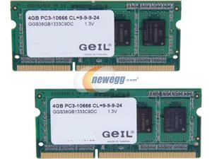 GeIL 8GB (2 x 4GB) Green Series DDR3 PC3-10660 1333MHz 204-Pin Laptop Memory Model GGS38GB1333C9DC