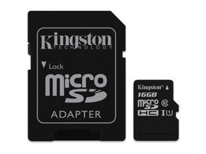 Kingston 16GB microSDHC Flash Memory Card With SD Adapter Model SDC10G2/16GB