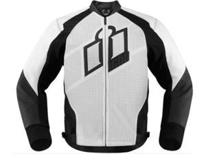 Icon Hypersport Motorcycle Jacket White Small