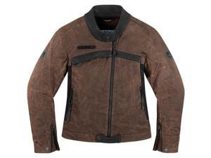 Icon One Thousand Hella 1000 Womens Motorcycle Jacket Brown Large